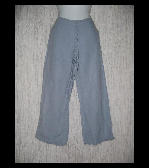 Solitaire Boutique Ruffled Linen Drawstring Capris Pants X-Small XS