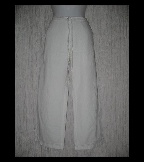 SOLITAIRE Boutique Long White Cotton Drawstring Pants Medium M