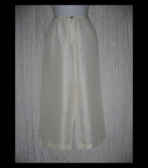 KIKO Comfortable Clothing Elegant Creamy White Silk Capri Pants Medium M