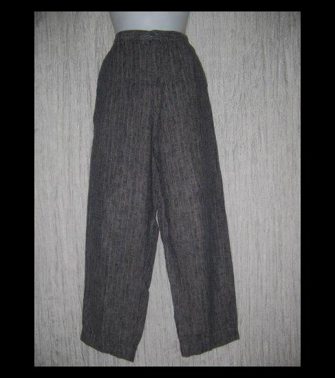 FLAX by Jeanne Engelhart Long & Lean Striped Linen Trousers Pants Small S
