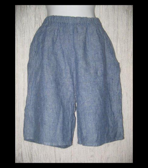 FLAX Blue Textured LINEN Shorts Jeanne Engelhart Small S