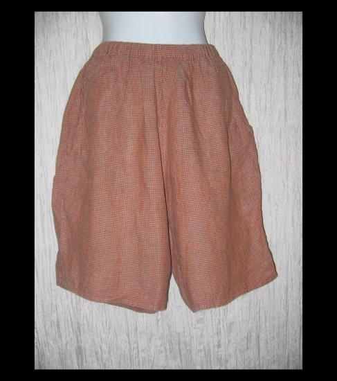FLAX Orange Brown Check Linen Shorts Jeanne Engelhart Medium M