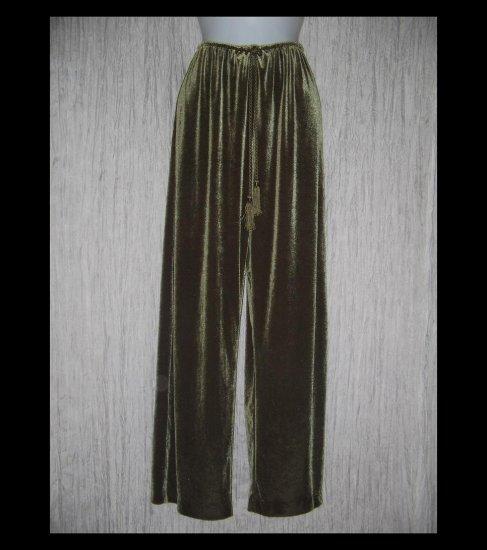 Soft Surroundings Long Wide Leg Olive Green Velour Drawstring Pants Medium M