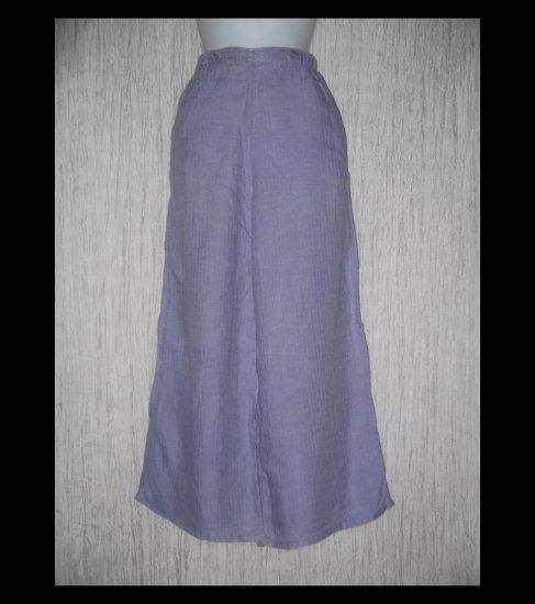 FLAX by Jeanne Engelhart Purple LINEN Sailoring Pants Wide Leg Floods Small S
