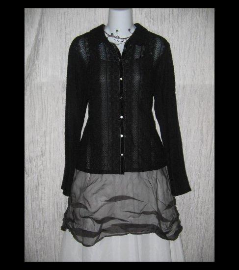 New J. Jill Black Velvet Lace Knit Button Tunic Top Shirt Medium Petite MP