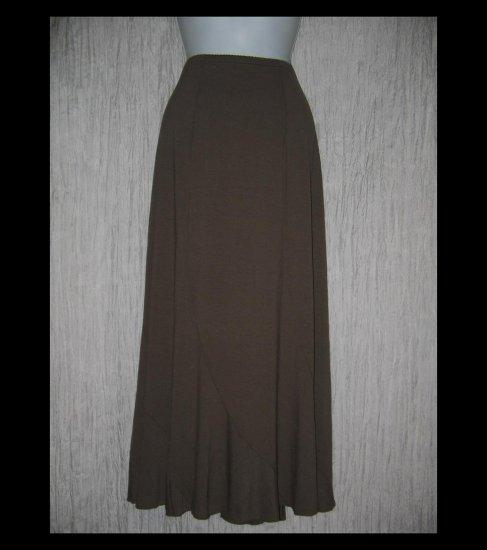 New J. Jill Long & Full Brown Circled Seams Knit Skirt Medium M
