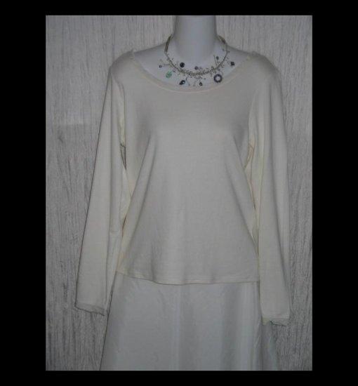 New J. JILL White Silk Trimmed Cotton Tunic Top Shirt Large Petite LP