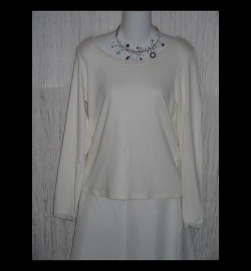 New J. JILL White Silk Trimmed Cotton Tunic Top Shirt Large L