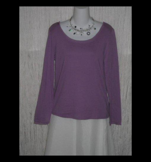 New J. JILL Purple Silk Trimmed Cotton Tunic Top Shirt Medium M
