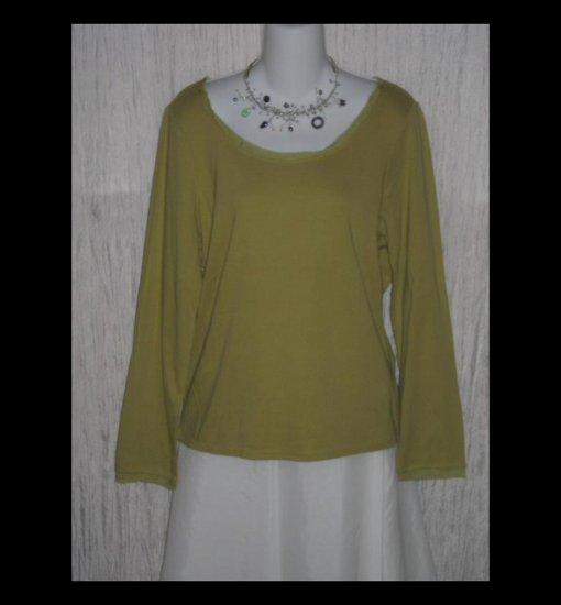 New J. JILL Green Silk Trimmed Cotton Tunic Top Shirt Large L