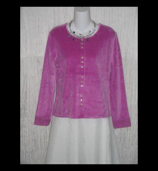 New J. Jill Soft Pink Velour Button Jacket Shirt Top Medium M