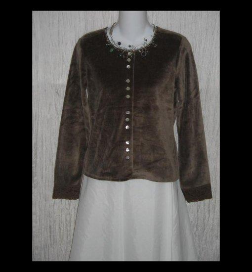 New J. Jill Soft Brown Velour Button Jacket Shirt Top XX-Small Petite XXSP