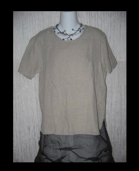 FLAX by Angelheart Jeanne Engelhart Linen Pullover Shirt Tunic Top Small S