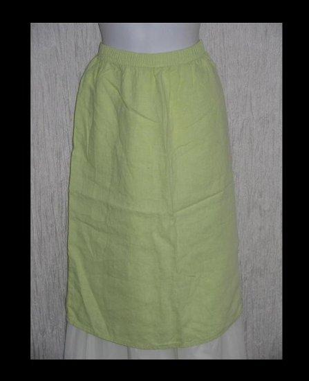 TSD Green Linen Calf Length Button Hem Skirt Small Medium S M