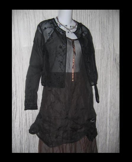TALBOTS Pure Silk Black Floral Beaded Tunic Top Jacket 12