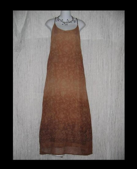 Donna Jessica Slinky Brown Slip Dress w Beaded Straps 2 M L