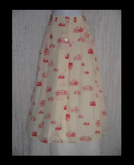 KRIZIA of Italy Full Fluttery Calf Length Whimsical Red Silk Bicycle Skirt Pink Embroidered Skirt 14