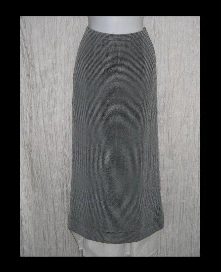 FLAX Long Black & White Grid Sliky Knit Skirt Jeanne Engelhart Medium M