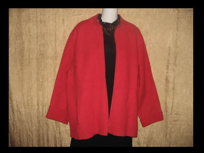 New EILEEN FISHER Persimmon Red Wool Stand Collar Zip Jacket Coat 1X