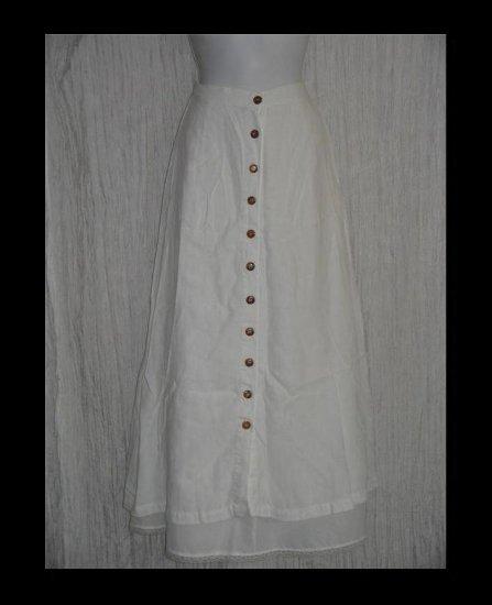 KIKO Comfortable Clothing Long & Full White Linen Button Skirt Medium M