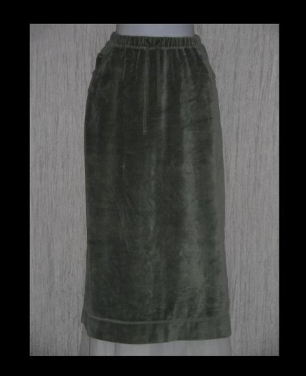 J. Jill Soft Sage Green Velour Drawstring Skirt Large Petite LP