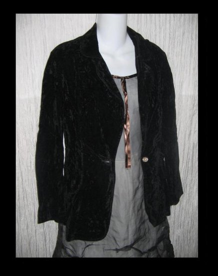 Vintage Shapely Black Velvet Button Jacket Blazer Small Medium S M