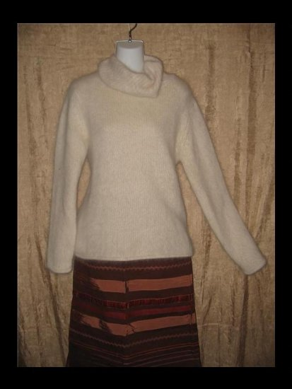 MONSOON Soft Cream LambsWool Turtleneck Jumper Sweater Medium M