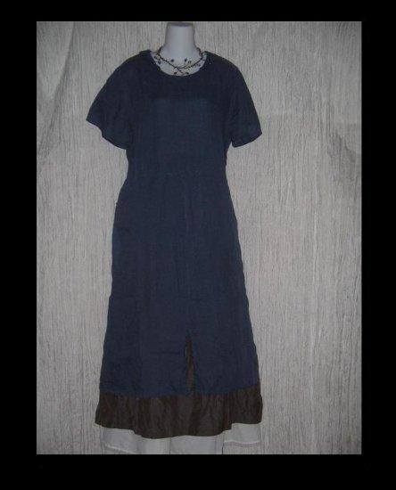 FLAX by Jeanne Engelhart Blue LINEN Bandana Dress SMALL S