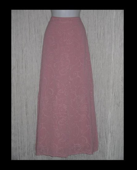 GHOST of England Long Sweeping Pink Embroidered Skirt Medium M