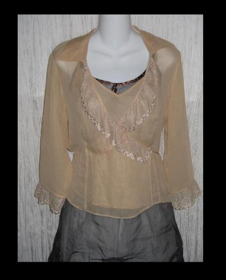 ICE Nude Silk & Lace Shapely Wrapped Jacket & Shell Medium M