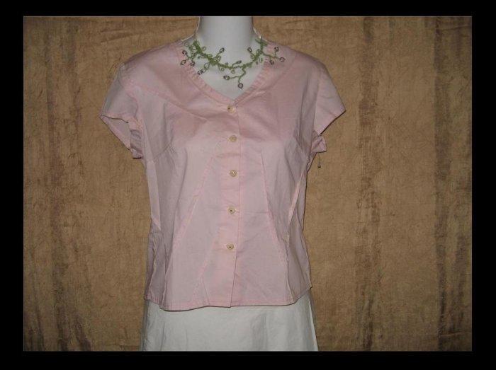 New NEESH by DAR Soft Pink Cotton Ruffle Shirt Top X-Small XS