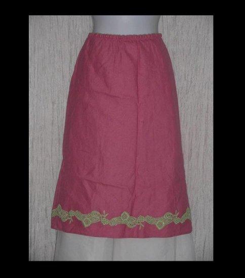 J. Jill Shapely Calf Length Hot Pink Linen Skirt w Lace Trim Large L