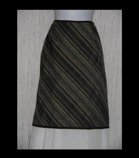 J. Jill Rich Striped Velvet Trim Shapely Knee Skirt Size 10