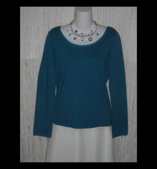 New J. JILL Teal Silk Trimmed Cotton Tunic Top Shirt  Large L