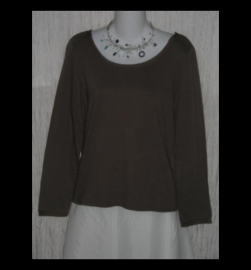 New J. JILL Brown Silk Trimmed Cotton Tunic Top Shirt Medium M