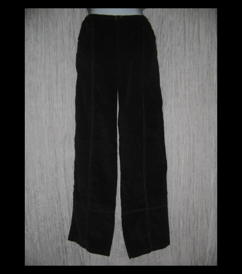 SOLITAIRE Black Straight Leg Corduroy Drawstring Pants Small S
