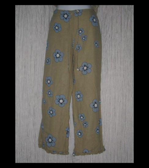 Solitaire Boutique Ruffled Linen Drawstring Capris Pants Large L