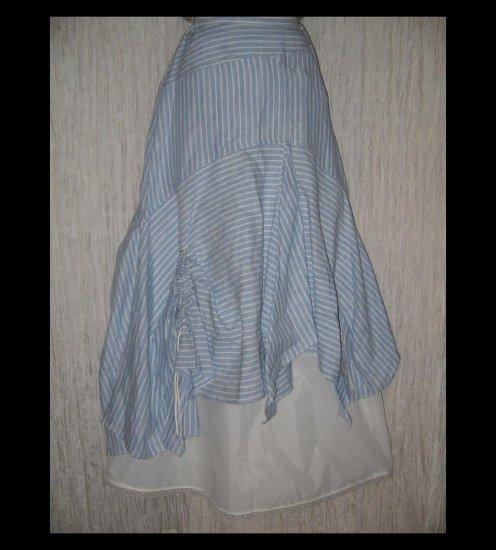 HANNA la journee Shapely Blue Striped Lagenlook Skirt 1 S M
