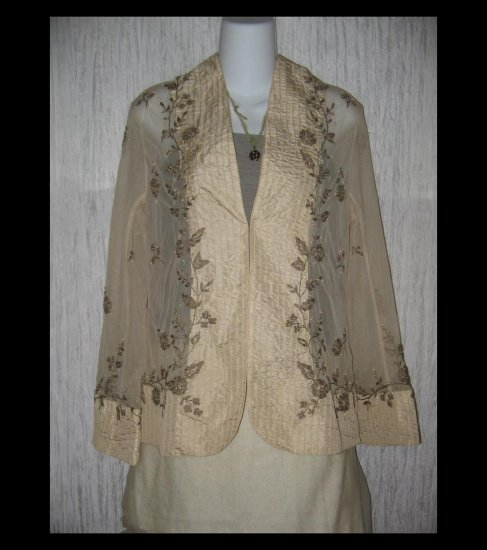 Soft Surroundings Ecru Sage Vintage Elegance Embroidered Tunic Top Jacket Small S