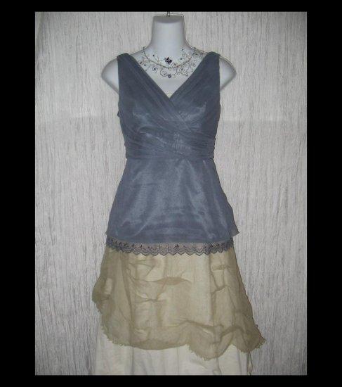 New TAHARI Elegant Dusk Silk Calla Lilly Blouse Shirt Top Medium M