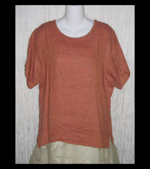 New FLAX Coral Tweed Linen Tunic Top Shirt Jeanne Engelhart Petite P
