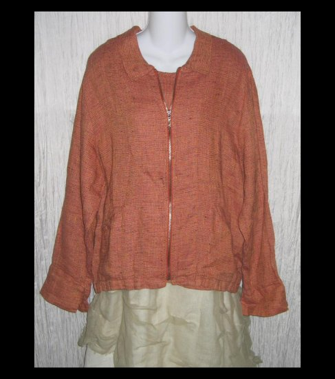 New FLAX Coral Tweed Linen Zipped Tunic Top Jacket Jeanne Engelhart Medium M