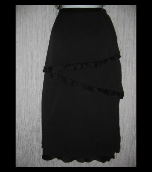 Neesh by D.A.R. Long Black Shapely Zig Zag Ruffle Skirt Large L