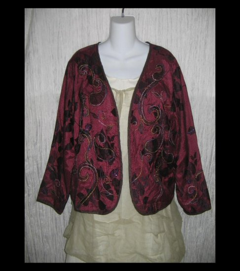 New Mirasol Embroidered Berry Swirl Art to Wear Tunic Jacket Shirt Top X-Large XL