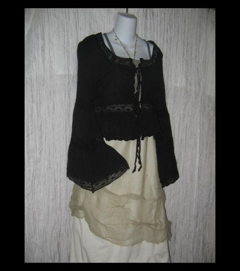 New CEJON Soft Black Rayon Shapely Crochet Trim Jacket Top M / L
