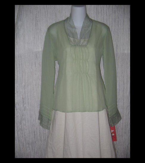New Tapemeasure Ethereal Green Silk Gathered Tunic Top Shirt 6