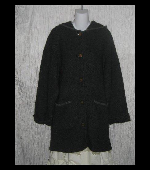 HERMAN GEIST Long Gray Wool Hooded Cardigan Sweater Duster Coat Medium M