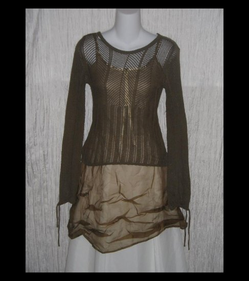 H&M Soft Brown Open Lace Knit Tunic Sweater Top Small S