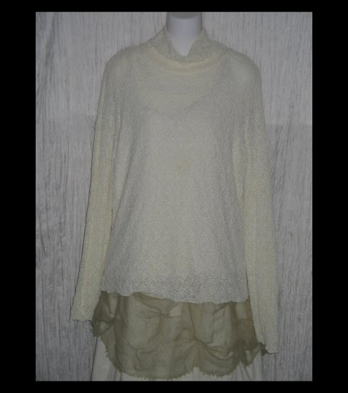 J. Jill Ivory Textured Knit Turtleneck Tunic Top Shirt X-Large XL