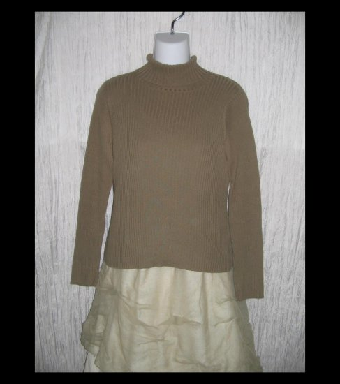 Northern Isles Earthy Brown Ribbed Knit Turtleneck Tunic Top Shirt Medium M